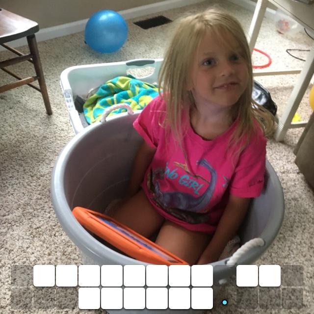 Daughter in bucket.