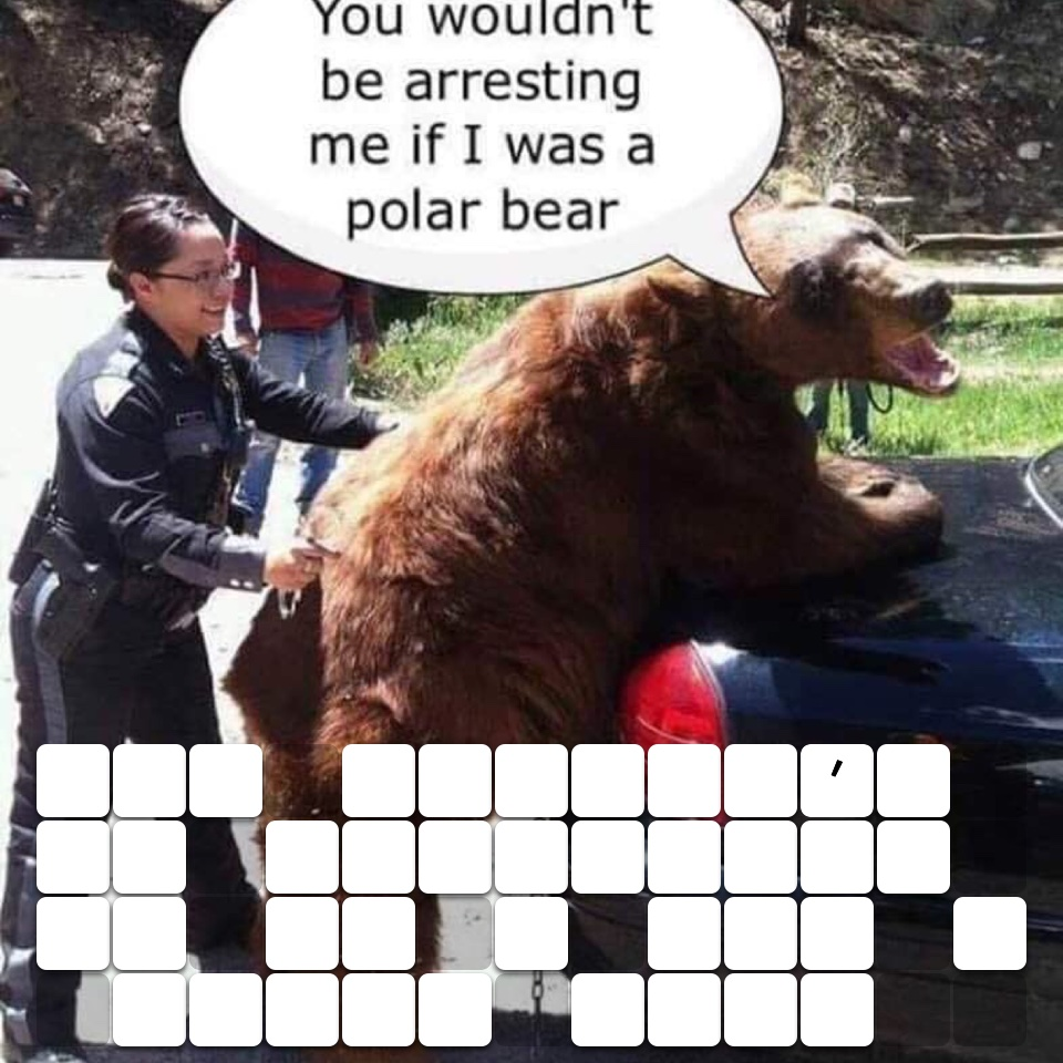 You wouldn't be arresting me if I was a polar bear